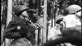 US troops of 345th Regiment, 87th Infantry Division fire at German positions near...HD Stock Footage