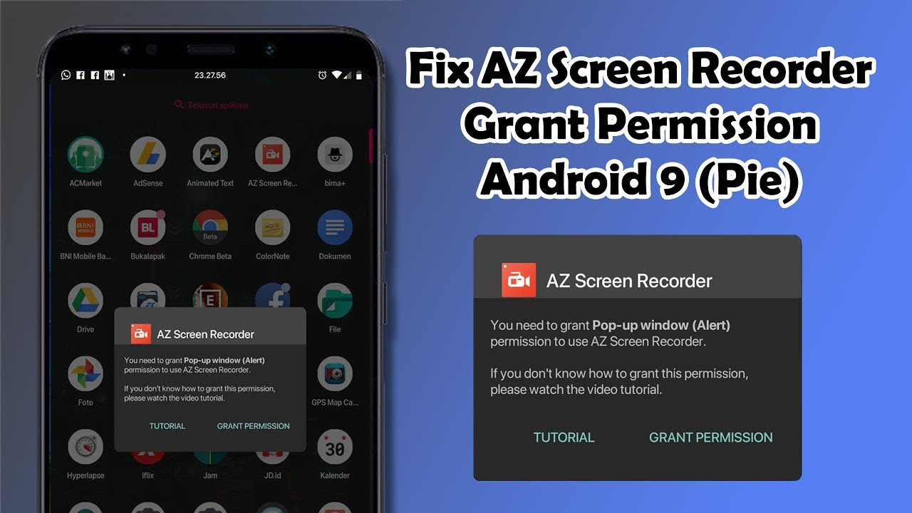Fix AZ Screen Recorder Grant Permission Android 9 (Pie)