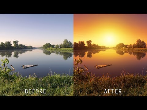 How to Create Realistic Sunset Effect in Photoshop - Turn Day Photo into Golden Evening