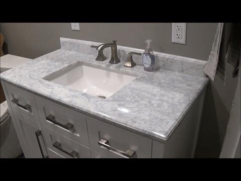 Review of Menards OVE White Malibu Vanity and Carrara Marble Vanity Top MALI42-G61EN 6056510