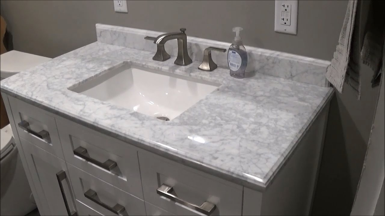 Merveilleux Review Of Menards OVE White Malibu Vanity And Carrara Marble Vanity Top  MALI42 G61EN 6056510