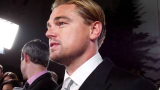 "Leonardo dicaprio talks to reporters at the premiere of ""j. edgar."""