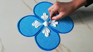 Easy and beautiful rangoli design for beginners l kolam muggulu l घर पर रंगोली डिजाइन l rangoli