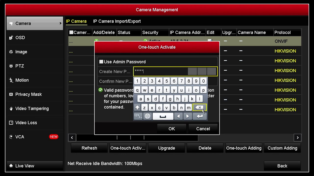 How to activate a Hikvision IP Camera on NVR using a strong password