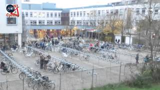 Arriving at school on a bicycle (Netherlands)