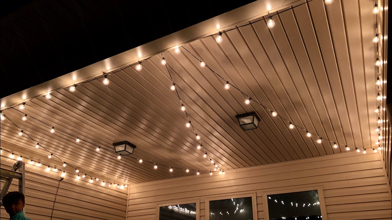 Brightown Outdoor Cafe Patio String Lights REVIEW - YouTube