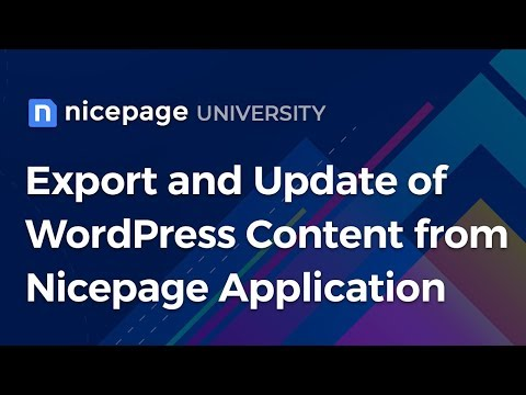 Export and Update of WordPress Content from Nicepage Application