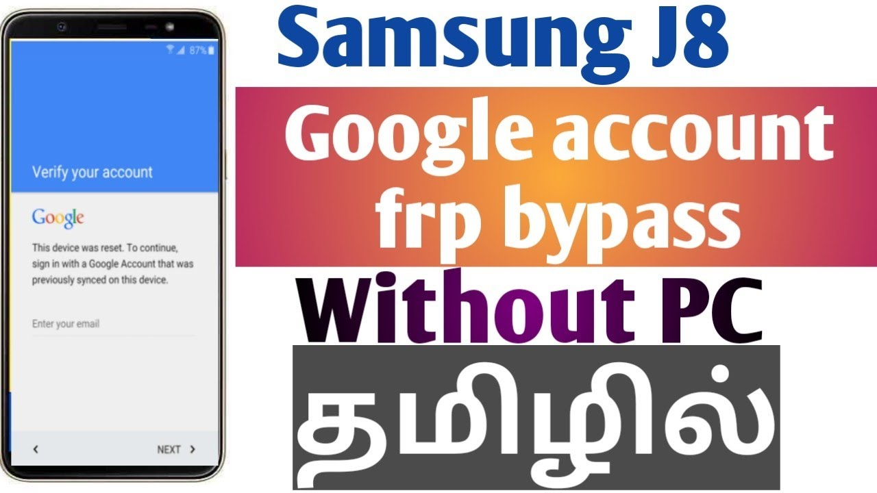 FRP Bypass Samsung Galaxy J8 2018 (SM-J810) 100% Easy Without Pc Google  Account | Android 9/8 tamil