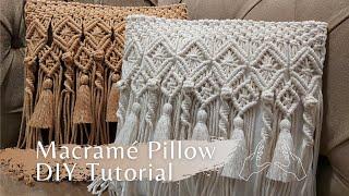 Macramé Pillow / Cushion Tutorial DIY  Makrome Yastık Yapılışı  Macrame Kussen Tutorial