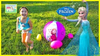 Elsa and Anna Inflatable Beach Ball Sprinkler w/ Surprise Eggs! Outdoor Play
