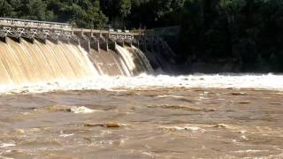 Lake Lynn Hydroelectric Dam opening its flood gates.