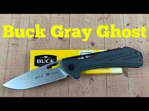 SK Blades Buck Gray Ghost Flipper Knife w/S35VN  G&G Hawk Collaboration