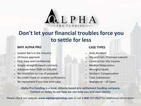 Lawsuit Cash Advance by Alpha Pro Funding - Pre Settlement Case Funding