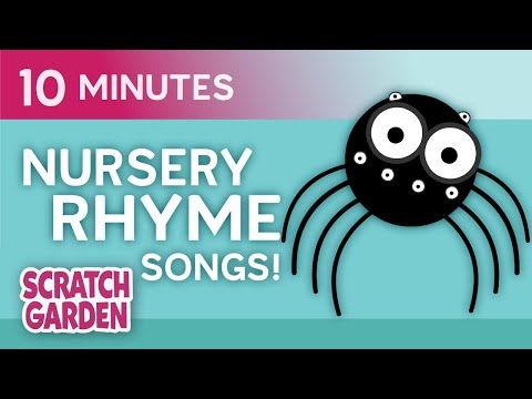 The Itsy Bitsy Spider & Friends  Nursery Rhymes  10minute Compilation  Scratch Garden
