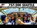 Piloting the BOEING 757 into Seattle  Cockpit Views