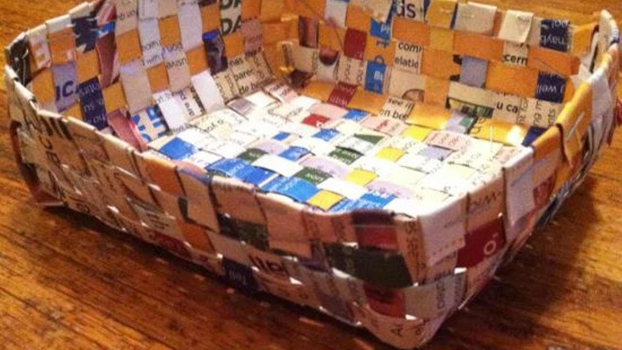 Fabrication De Panier Tissé : Fabriquer un panier tiss? en papier diy maison