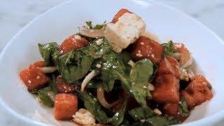Feta Arugula Melon Salad - Unique Salad Recipe Featuring Watermelons & Feta Cheese