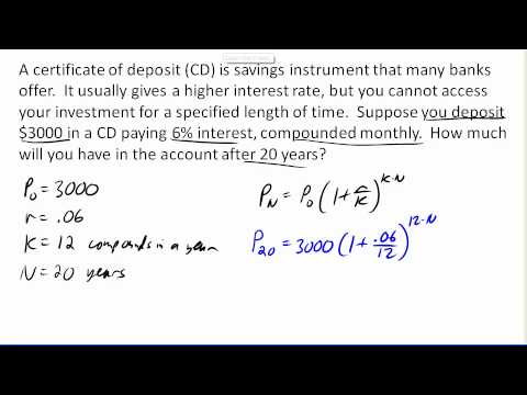 Compound Interest Cd Example Youtube