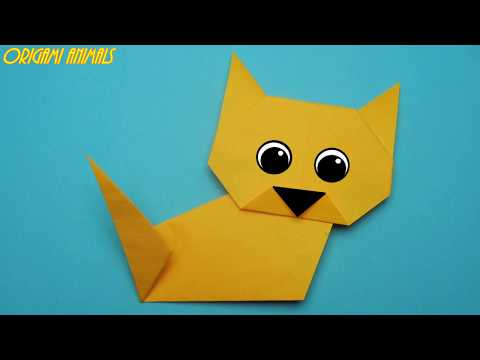 How to make a cat out of paper. Origami cat. Origami animals.