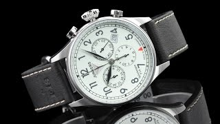 Junkers 6186-5 Spitzbergen F13 German Made Full Lume Dial Quartz Chronograph Leather Strap Watch