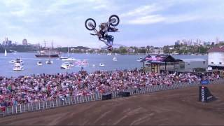 Dirt bike backflips a V8 Supercar