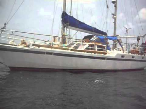 BRUCE ROBERTS STEEL SAILING YACHT 44'  FOR SALE.     PART 1      OUTSIDE