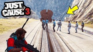 JUST CAUSE 3 - FUN WAYS TO STOP THE TRAIN! (& BEST GLITCH EVER)