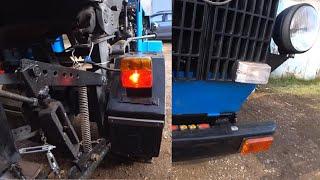 Доработанный самодельный минитрактор 4×4 .оптика  и нож для снега. гаражные будни.