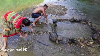 Construction technology: Build fish tank and  Skills unique fish trap on river