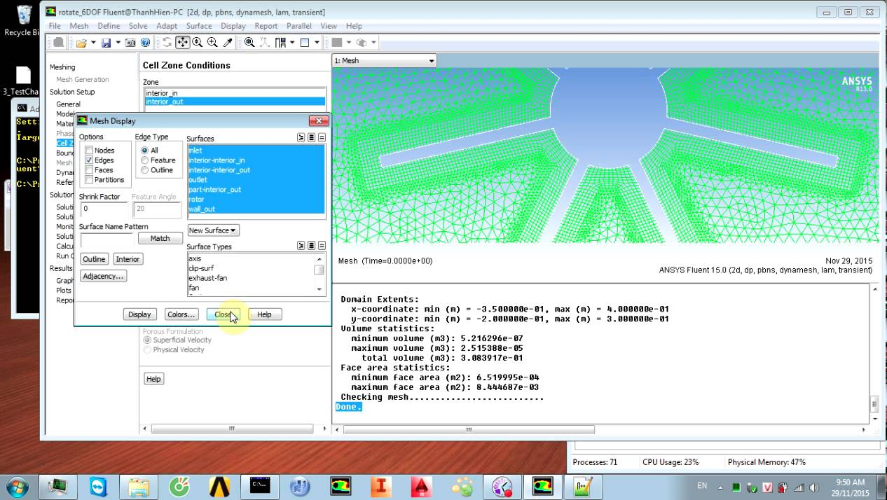 NTH - Tutorial ANSYS FLUENT with calculating rotate speed