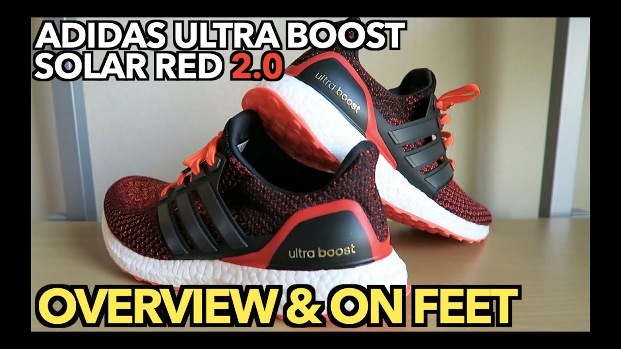 dc61df9987b70 ULTRA BOOST SOLAR RED 2.0 I Detail Shots   On Feet - YouTube