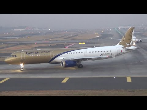 Gulf Air, Jet Airways and Kuwait Airways seen on taxiway of Mumbai Airport