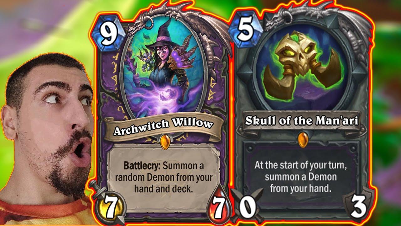 Skull BIG Demons Warlock With Bloodreaver Gul'dan! Barrens Mini-Set Wild | Hearthstone