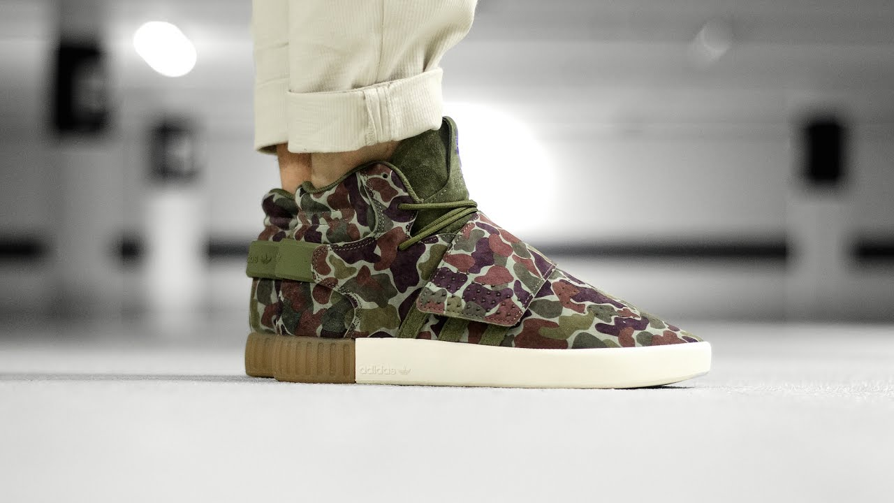 84b3bbe7c ADIDAS TUBULAR INVADER CAMO BB8393 - MATE - YouTube