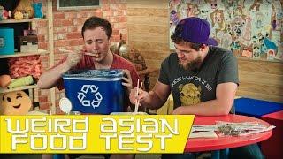 gamers try weird asian food taste test