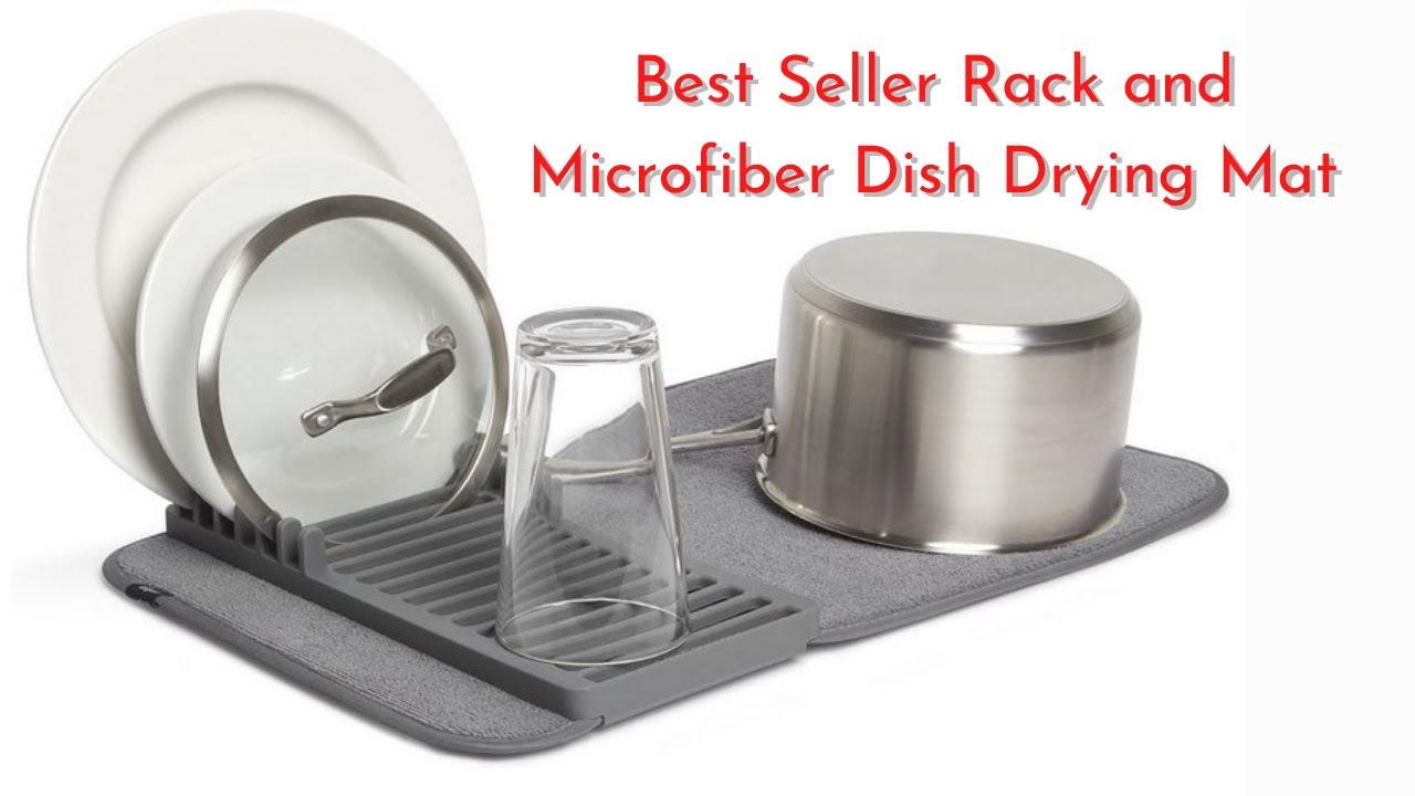 Kitchen Dish Drying Microfiber Mats 12x18 Gray FREE SHIPPING Set of 2