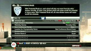 HD Capture of the New Custom Conferences in NCAA Football 12