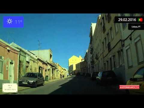 Driving through Lisboa (Portugal) from Belem to Almada de Brito 29.02.2016 Timelapse x4