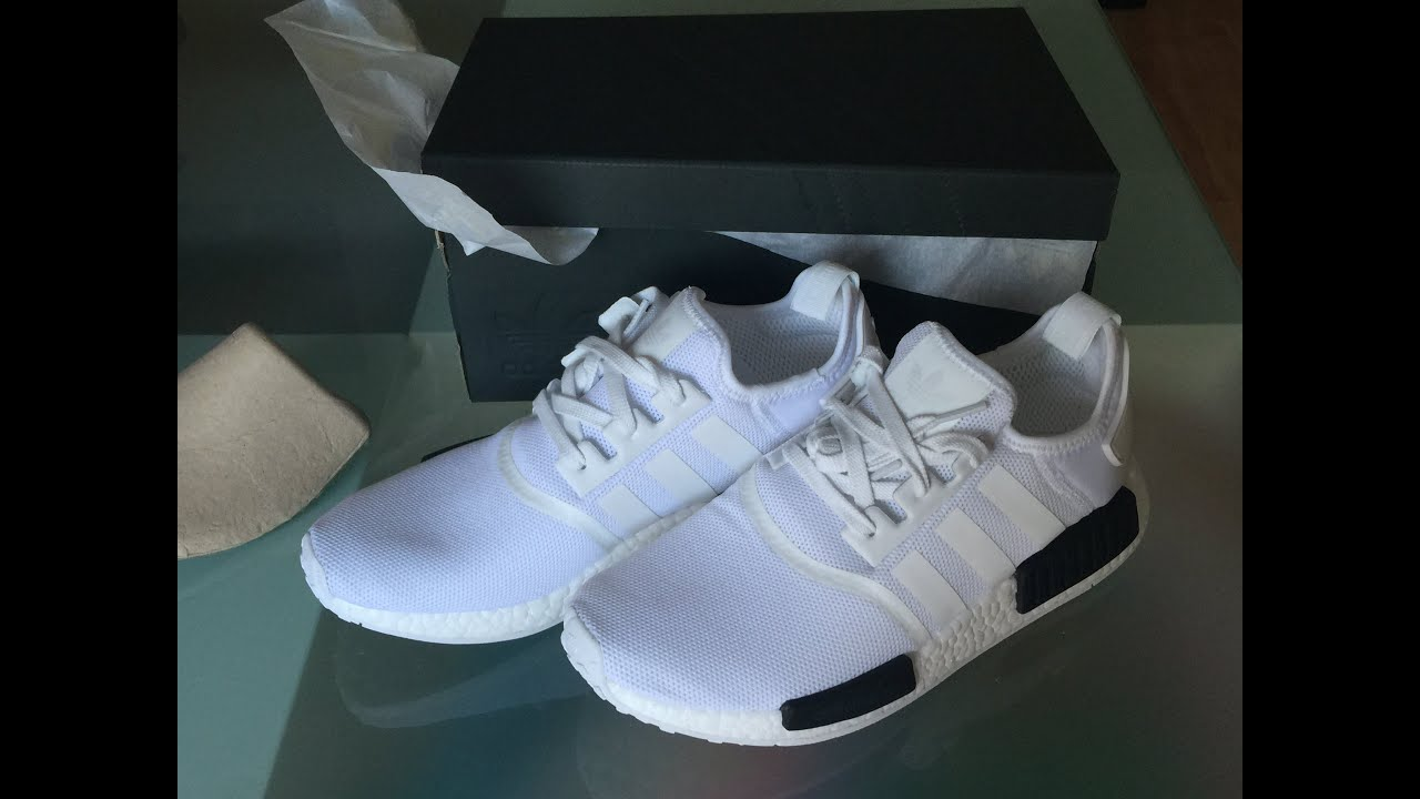 grpgdn Adidas NMD R1 White Black Unboxing and Review Boost - YouTube