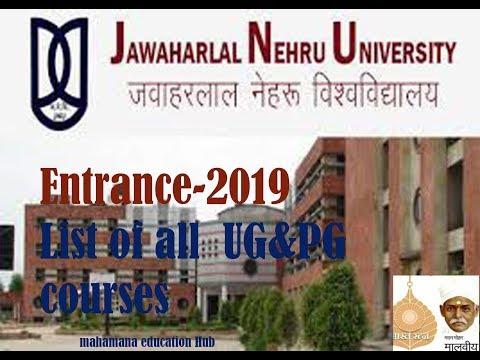 JNU  Entrance-2019,List Of All UG& PG Courses