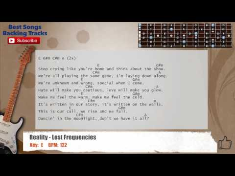 Reality - Lost Frequencies Guitar Backing Track with scale, chords and lyrics