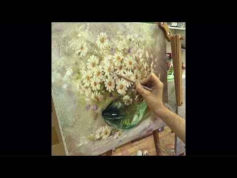 Ромашки. Мастер-класс на двух холстах. Master Class On Two Canvases