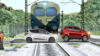 Emu trains at unmanned level crossing in indian train simulator