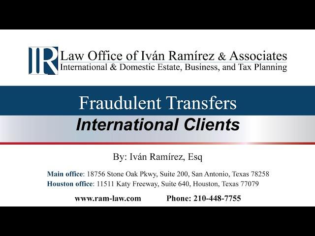 Fraudulent Transfers - International Clients