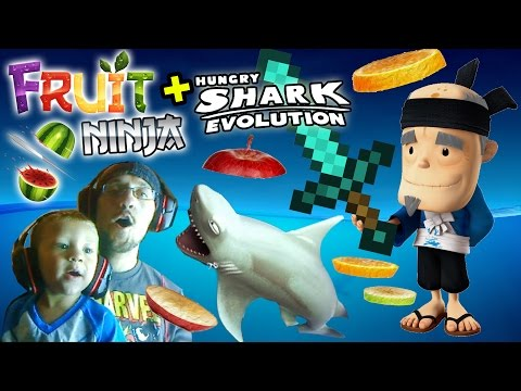 Chase Plays Everything: Fruit Ninja & Hungry Shark Evolution + More (2 year old Face Cam)