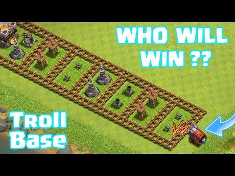 LEVEL 1 WALL WRECKER VS. LEVEL 1 TROLL BASE!! WHO WILL WIN ?? | CLASH OF CLANS