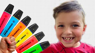 Mark pretends to play with his Magic Pen #2   Preschool toddler learn color