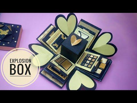 DIY Golden themed Explosion box|Craft idea|Paper purse/supplies|Prachi art and craft