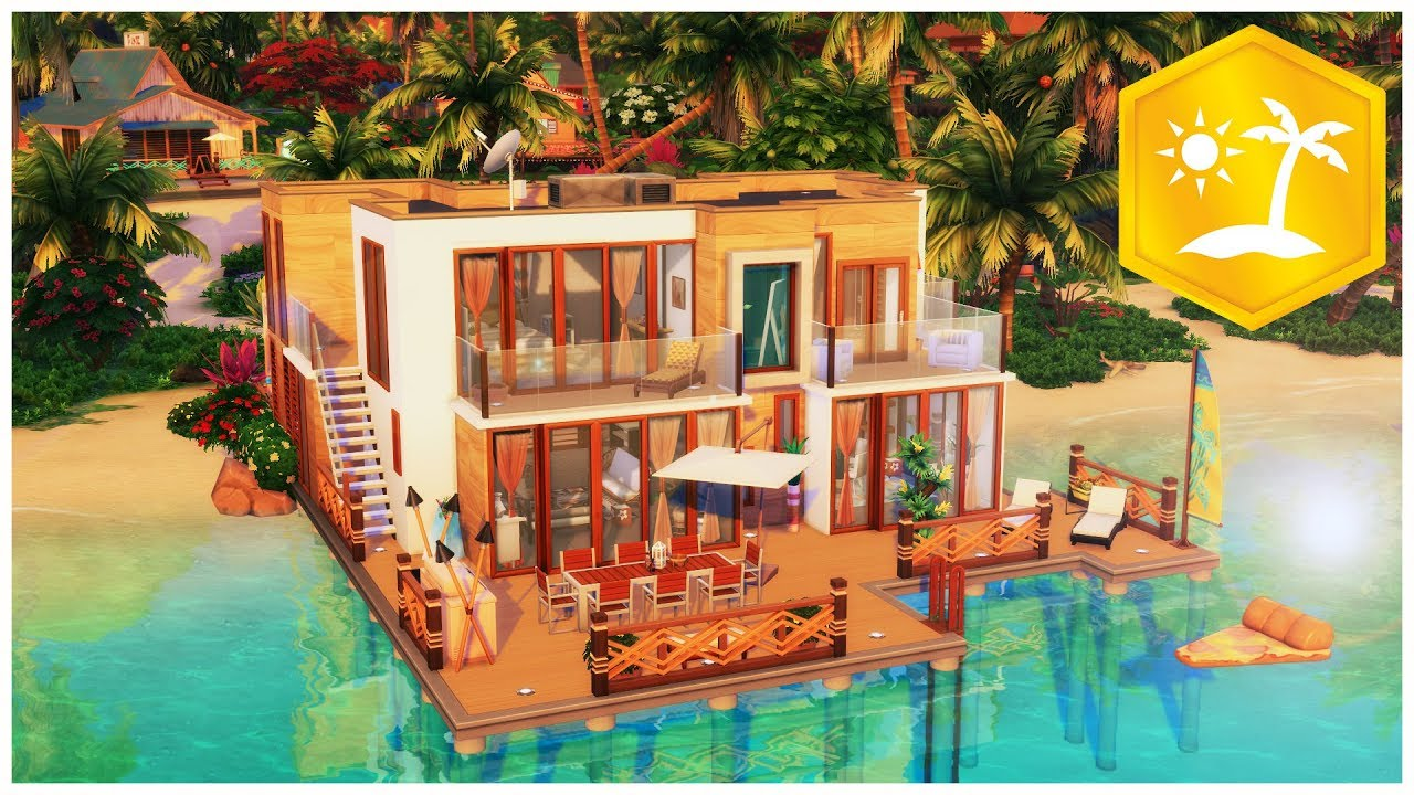 CRÉATION SIMS 4 ÎLES PARADISIAQUES 🏖   Maison au bord de l'eau ! (Speed Build) - YouTube