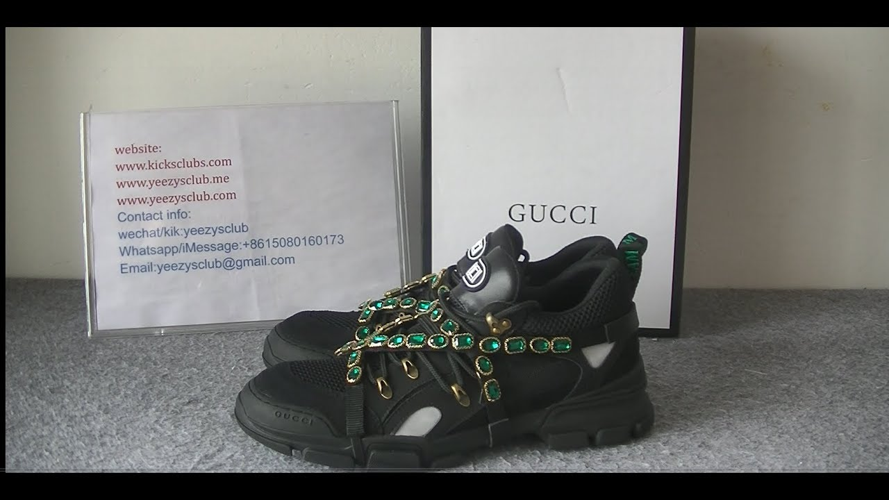 6a128e53217 Gucci Flashtrek Sneaker With Removable Crystals Black - YouTube